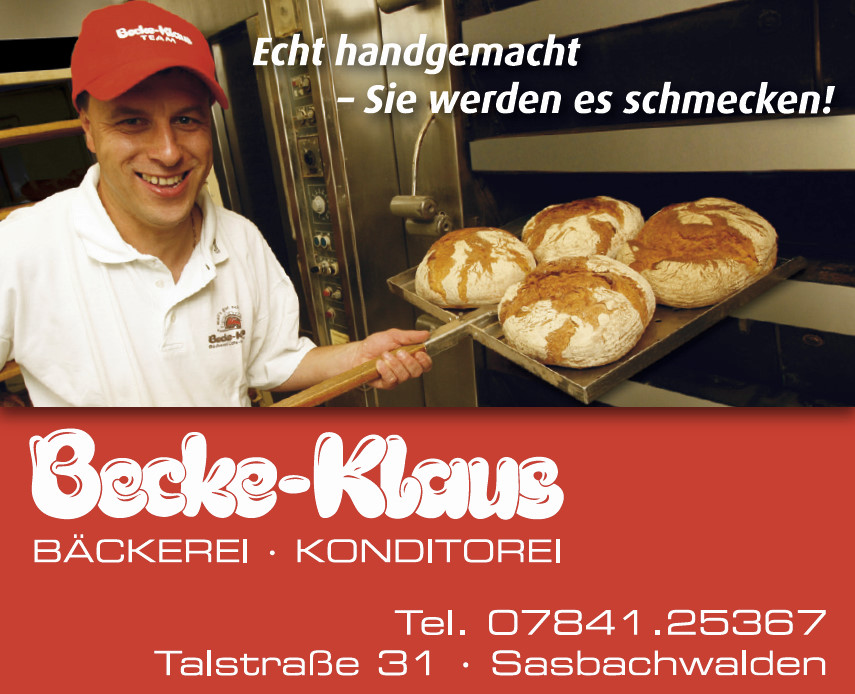Bäckerei · Konditorei Becke-Klaus in Achern und Sasbachwalden